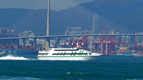 High-speed ferry boat in the harbor of Hong Kong Live Action