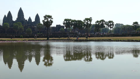 Mass tourism time lapse from Angkor Wat Footage