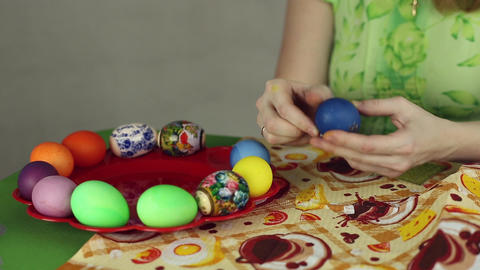 Preparation of Easter eggs, the feast of the passover Footage