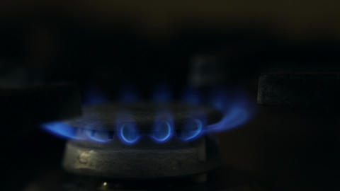 The gas is ignited in the gas burner Footage