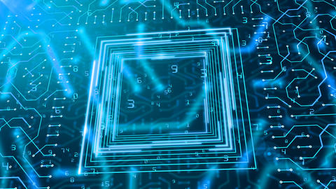 Square Circuit Board and Falling Digits Animation