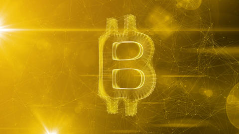 Sparkling Bitcoin Symbol in Spiraling Cyberspace Animation