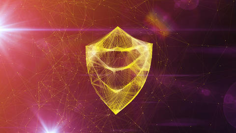 Golden Shield Symbol in Whirling Cyberspace Animation