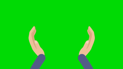Cartoon Hands Clapping on a Green Screen Background Image
