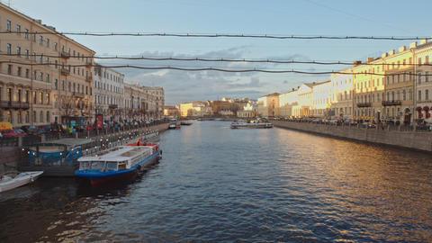 View of the Fontanka river from Anichkov bridge on Nevsky prospect Footage