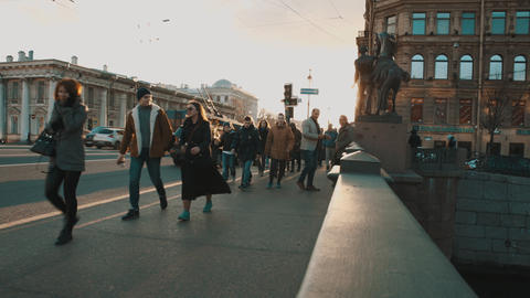 People walking along Nevsky Prospekt Footage