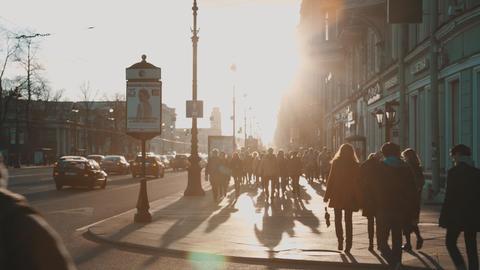 People walking along Nevsky Prospekt Footage