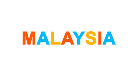 country name MALAYSIA from letters of different colors appears behind small Animation