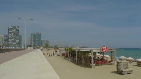 Beach Bar Seen From The Shore Street Footage