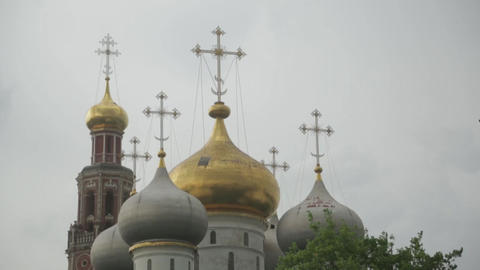 Domes of the Novodevichy convent Footage