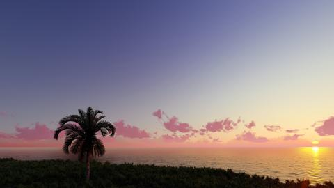 Nice sunset 3D render Photo