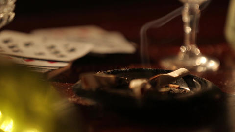 Ashtray with cigarettes Footage