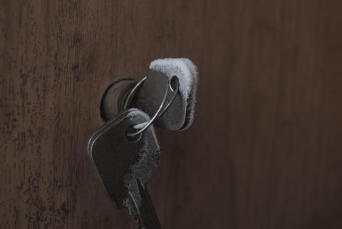 The key in the castle, covered with hoarfrost on a frosty Photo
