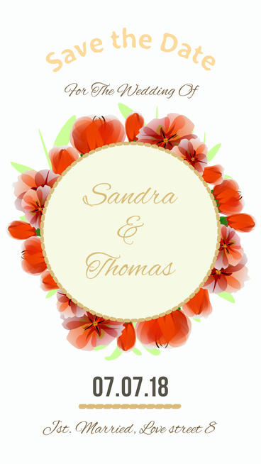 Wedding Save the Date Red flower After Effects Template