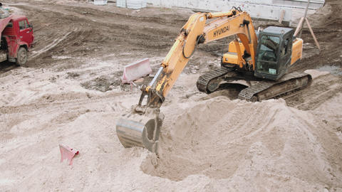 Excavator working on construction site Live Action