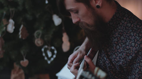 Hipster playing electric guitar Footage