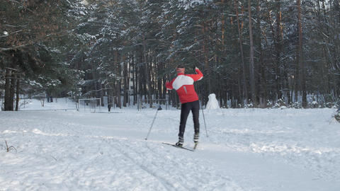 Man Skiing Alone in Nature Footage
