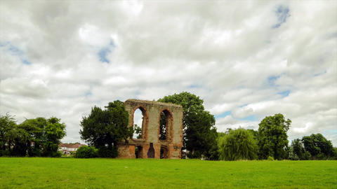 Timelapse of Caludon castle in caludon castle park, coventry, united kingdom Live Action