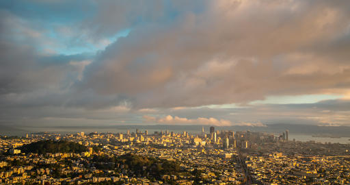 Morning Clouds Over San Francsico Time Lapse Archivo