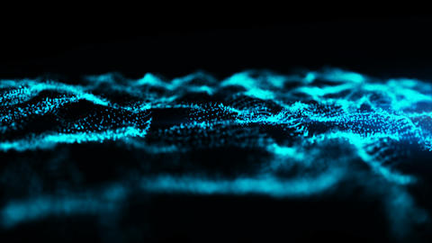 Digital loop wave particles flow, Abstract background Animation
