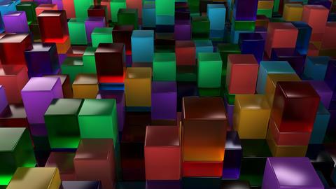 Wall of blue, green, orange and purple glass cubes Fotografía