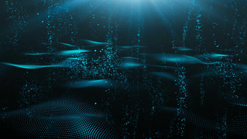 Digital abstract particles flow Underwater wave style background Animation
