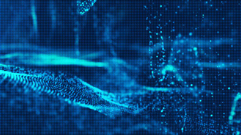 Blue digital particles wave and grid abstract cyber space environment background Animation