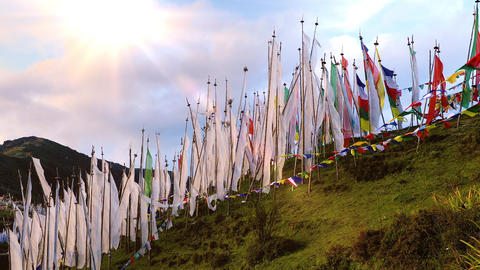 Buddhist Prayer Flags Blowing In The Wind Footage