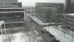 Munich / Germany - February 17 2018 : Street crossing during the snow storm Footage