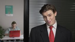 Young successful man in a suit shows contempt, mistrust, distrust emotion. Man Footage