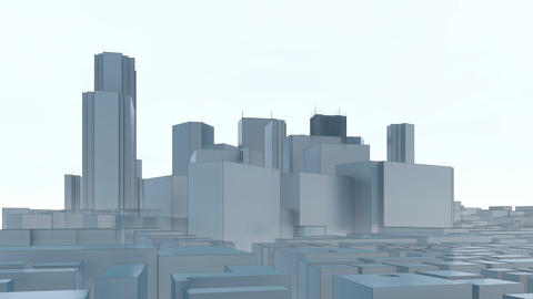 Abstract Tokyo city skyscrapers on white background Animation