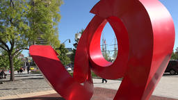 USA Maryland Baltimore red fantasy sculpture at Inner Harbor Footage