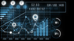 Finance HUD graphs, charts, data. Blue, 4K Animation
