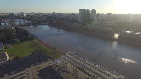 Aerial drone scene of city landscape Footage