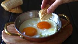 eating egg bread breakfast Footage