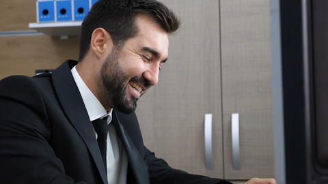 Beautiful portrait of successful businessperson smiling and laughing Live Action