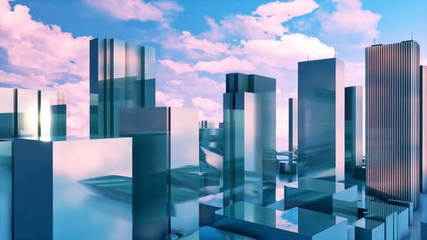 Abstract 3D high rise buildings reflection mirror facades Image