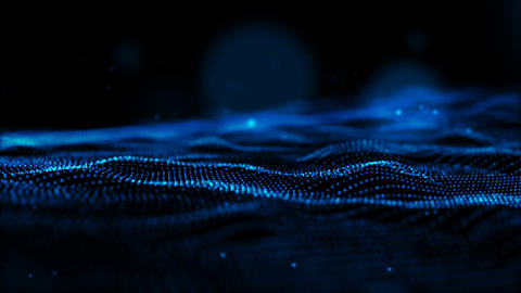 Digital abstract sparkling blue color particles wave form cyber technology Animation