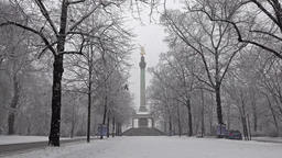 The Angel of Peace on the top of Friedensengel monument in Munich, Germany Footage