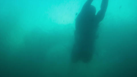 Man Swimming Underwater Footage
