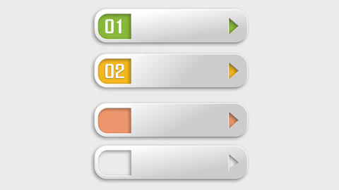 Modern horizontal colorful bars for showing steps or options info After Effectsテンプレート