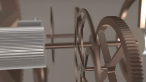 Metal gears in motion in a mechanical device. Gearbox rotating machine parts Animation