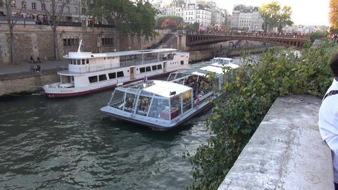 At the Seine, Paris, France. Boot auf der Seine in Paris Frankreich Footage