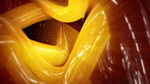 Abstract yellow and orange 3D glossy shapes in motion