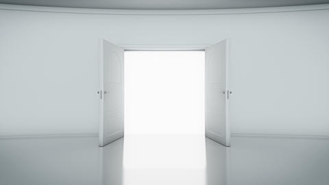 Double Door Opening with white background (alpha matte ) CG動画素材