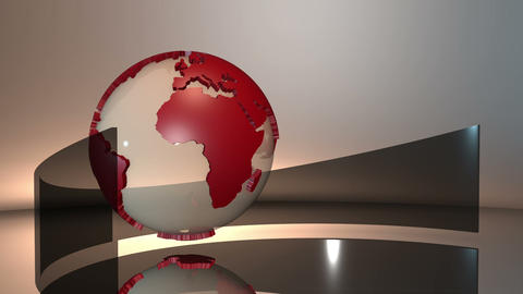 Advanced futuristic scene of a 3d spinning glass Earth globe with red extruded c Animation