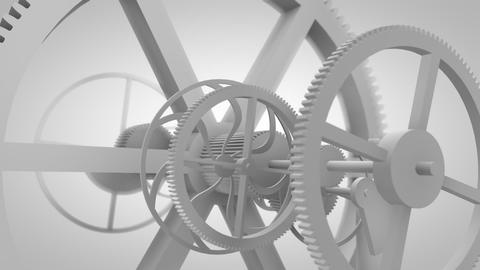 White gears in motion in a mechanical device. Gearbox rotating machine parts Animation