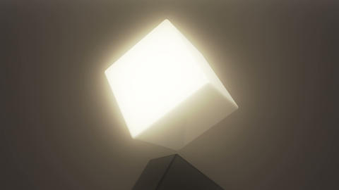 4k,3d rotating white cube Live Action