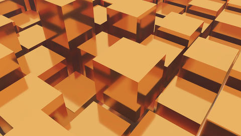 4k,abstract 3d golden metal cubes animation background Live Action