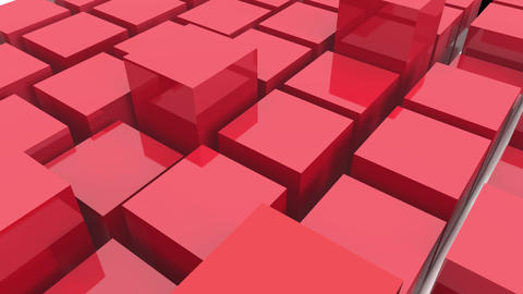 4k,abstract 3d red metal cubes animation background Live Action